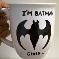 I am Batman Shh Quote Coffee Mug Hand Illustrated For Sheldon and Batman Lovers, White 12 oz