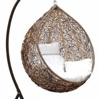 Amazon.com: Trully - Outdoor Wicker Swing Chair - The Great Hammocks DL03AB: Home &amp; Kitchen