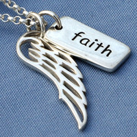 Faith Angel Wing Necklace,Faith Necklace,Faith Jewelry,Faith,Sterling Silver,Angel, Memorial,Simple,Everyday,Minimal,Modern