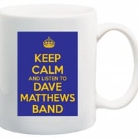 Keep Calm and Listen to Dave Matthews Band - 11 Oz Coffee Mug Blue and Yellow Album CD - Nice Motivational And Inspirational Office Gift:Amazon:Kitchen & Dining