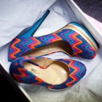 Wild Rose Olive01B Blue Multi Missoni Print Platform Pump