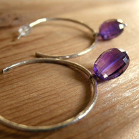 Handmade Silver Hoop Earrings Sterling Silver Amethyst Hoops with Faceted Amethyst Stones