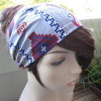 Navajo Southwestern Bandana, Head Band, Women's Tribal Head Wrap, Aztec Cotton Print Headband, Fall Hair Accessory, Gifts for Her