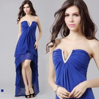 A Line V-Neck Beading Asymmetrical Chiffon Blue Evening Dress [766309] - US$109.00 : AAAweddingdress.com - Free shipping for all