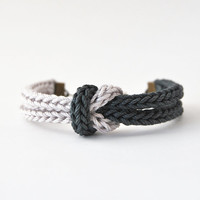 Charcoal gray bracelet, knot bracelet, knit bracelet from cotton