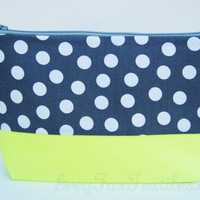 Gray Polka dot and Neon Yellow cosmetic case handmade of designer fabric / zipper pouch / organizer / clutch