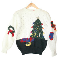 "Vintage 80s ""Stuck-On Stockings"" Tacky Acrylic Ugly Christmas Sweater"