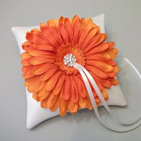 Orange Gerbera Daisy and Ivory Silk Ring Bearer Pillow | WhiteThistleBridalDesigns - Wedding on ArtFire