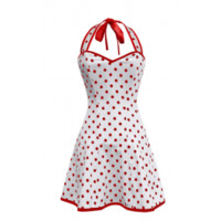 ND-051 - Polka Dot Red and White Halterneck Dress