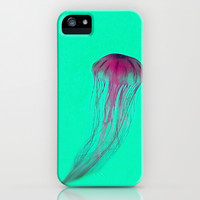 Magenta Pink Jellyfish on Green iPhone & iPod Case by Brooke Ryan Photography