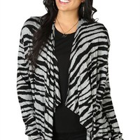 Long Sleeve Zebra Print Cozy Sweater with Drape Front