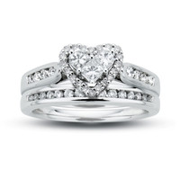 3/4 CT. T.W. Diamond Heart Bridal Set in 14K White Gold - View All Rings - Zales