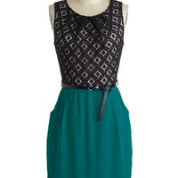 Meet Your Marvelous Mishmash Dress in Teal | Mod Retro Vintage Dresses | ModCloth.com