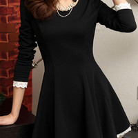 Elegant Round Neck Long Sleeve A-line Dress - OASAP.com