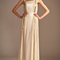 Long Embellished Ribbon Dress