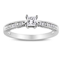 Princess-Cut Lab-Created White Sapphire and Diamond Accent Promise Ring in Sterling Silver - View All Rings - Zales