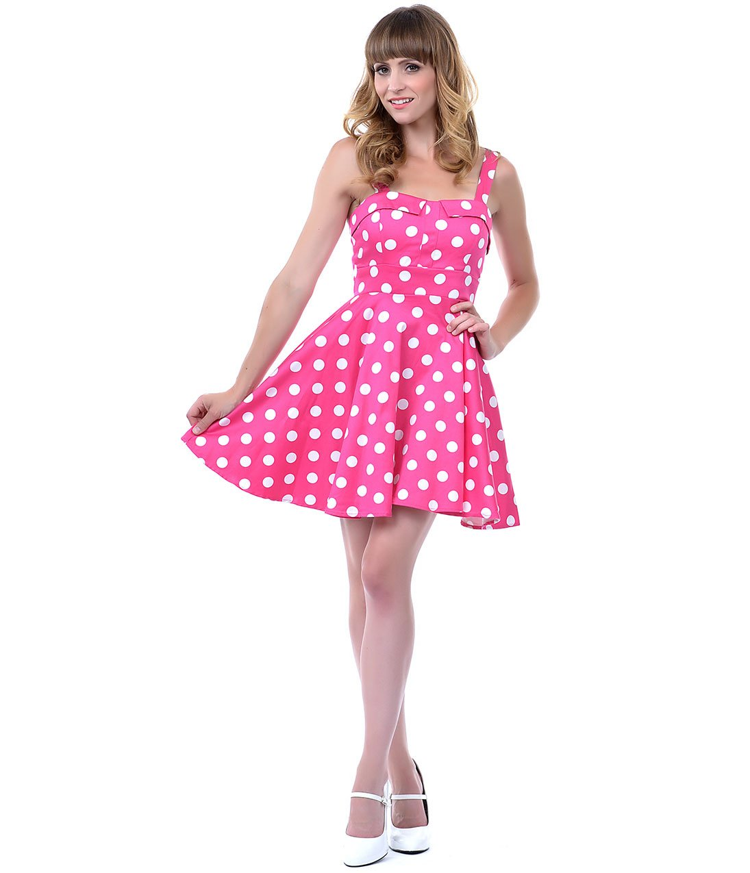 Minnie Mouse costume pink polka dot dress with WHITE panty (available in sizes 12 month 2t,3t,4t,5t minnieschild. 5 out of 5 stars Vintage Pink and White Polka Dots Rayon Dress Plus Size Made in USA RosaDeTecido. out of 5 stars () $
