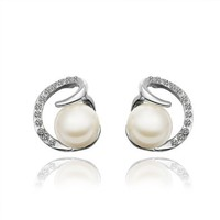 18K White Gold Plated Earrings Love Pearl Stud Earrings Health Jewelry Nickel Free
