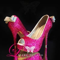 Rose Fuchsia crystals Peep Toe Heels, Embellished AB Crystals Back Bows