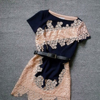 Fashion Dark Blue Slim Embroidered Irregular Dress