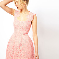 ASOS Cupped Structured Dress In Lace at asos.com