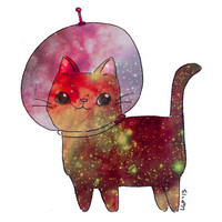 Galaxy Cat Illustration Space Kitty Cute Kawaii Astronaut Art Print Wall Art