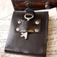 Steamer Leather Bifold Wallet with Vintage by urbanheirlooms