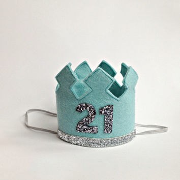 21st Birthday Crown Headband LARGE Gold Glitter - Any Age Number