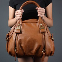 Cognac Brown Women Zipper Classic Designer Signature Shoulder Purse Handbag | 51207