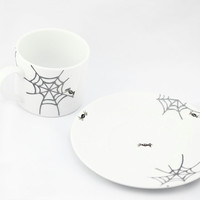 Halloween Spooky Ceramic Coffee Cup with Saucer Spider and Spider webs Tea Cup Hand Painted Kitchen Decor