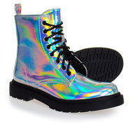 Spot On Boots - Silver Hologram Boots / Shoes - Alternative / Gothic Footwear