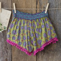 Lime  Green  &  Pink  Indie  Print  Lounge  Shorts  From  Natural  Life