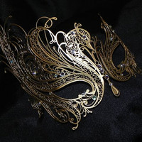 Gold Swan Metallic Filigree Masquerade Mask