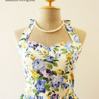 Sweet Floral Dress Blue Rose Romantic Dress Party Tea Dress Vintage Inspired Dress Once Upon a Time -Size XS, S, M, L, CUSTOM-