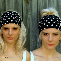 Wide Stretchy Yoga Headband, Navy Blue & White Polka Dot, Stretchy Wide Head Wrap Workout HeadBand or CHOOSE Your Color