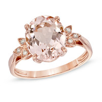 Oval Morganite and Diamond Accent Ring in 10K Rose Gold - View All Rings - Zales