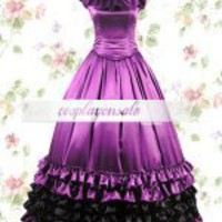 Purple Black Satin Ruffles Classic Lolita Dress [T110149] - $73.00 : Cosplay, Cosplay Costumes, Lolita Dress, Sweet Lolita