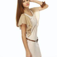 Casual Ruffle Dress - Beige Dress - $43.00