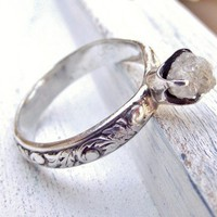 Rustic Rough Uncut Diamond Ring Filigree Sterling Band Coose Size | WestWindCreations - Jewelry on ArtFire