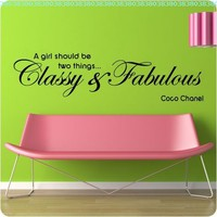 "48"" Coco Chanel Classy and Fabulous - WALL STICKER DECAL QUOTE ART MURAL Large Nice:Amazon:Home & Kitchen"