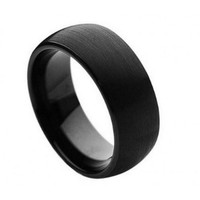 Brushed Black Enamel Plated Domed Band Tungsten Carbide Ring 8MM