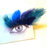 Shades of Blue Feather False Eyelashes