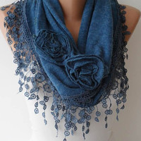 Autumn Scarf - Turquoise Shawl Scarf with Rose - Headband - Knit Tricot Fabric  Scarf with Trim Edge