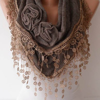 Autumn Scarf - Light Brown Shawl Scarf with Rose - Headband - Knit Tricot Fabric  Scarf with Trim Edge