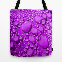 Water Drops Purple Tote Bag by Alice Gosling
