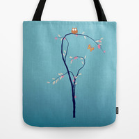 The Owl and the Butterfly Tote Bag by Laura Santeler