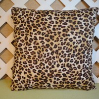 Tan & Brown Leopard Print Pillow Cover Cotton Hidden Zipper