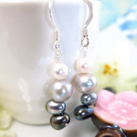 50 Shades of Gray sterling silver pearl dangle earrings