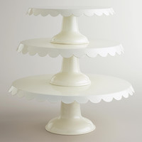 Ivory Scalloped Metal Pedestals