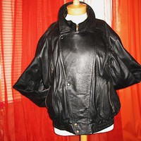 Jacket Vintage Chrome Leather BOMBER  W Double Closing And Pockets Lined Size XL